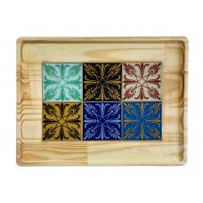 Bandeja com Decoração rústica de Madeira e Azulejo de Vidro