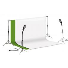 Suporte Fundo Infinito/ 02 Tripés Reclináveis com 02 Holofotes de 50w e Tecido Branco e Verde Chroma Key 3x2