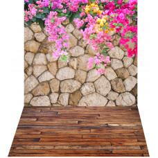 Fundo Fotográfico Parede Pedras e Flores 1,4x2,2m