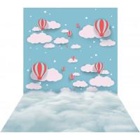 Fundo Fotográfico Newborn Céu Balões 1,40m x 2,20m