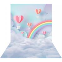 Fundo Fotográfico Newborn Céu Balões Arco-iris 1,40m x 2,20m