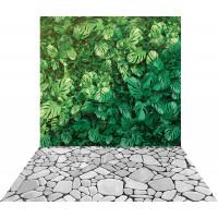 Fundo Fotográfico Cenário Jardim Vertical Chão de Pedra 1,4m x 2,2 m
