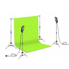 Suporte Fundo Infinito/ 02 Tripés Reclináveis com 02 Holofotes de 50w e Tecido Verde Chroma Key 2x3