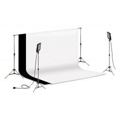 Suporte Fundo Infinito/ 02 Tripés Reclináveis com 02 Holofotes de 50w e Tecido Branco e Preto 3x2