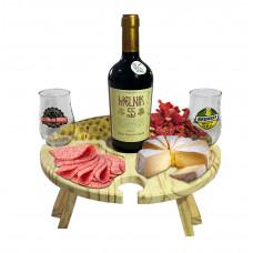 Petisqueira Tábua Para Frios Porta Taças e Vinho Em Madeira Pinus