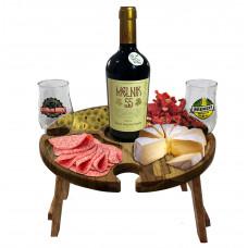Petisqueira Tábua Para Frios Porta Taças e Vinho Em Madeira Teca