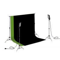 Suporte Fundo Infinito/ 02 Tripés Reclináveis com 02 Holofotes de 50w e Tecido Preto e Verde Chroma Key 2x3
