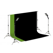 Suporte Fundo Infinito/ 02 Tripés Reclináveis com 02 Holofotes de 50w e Tecido Preto e Verde Chroma Key 3x2