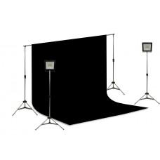 Suporte Fundo Infinito/ 02 Tripés Reclináveis com 02 Holofotes de 50w e Tecido Preto 3x2