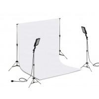 Suporte Fundo Infinito/ 02 Tripés Reclináveis com 02 Holofotes de 50w e Tecido Branco 2x3