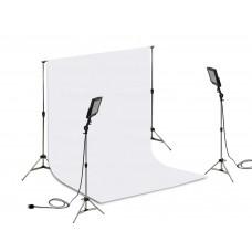 Suporte Fundo Infinito/ 02 Tripés Reclináveis com 02 Holofotes de 50w e Tecido Branco 3x2