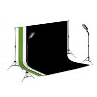 Suporte Fundo Infinito/ 02 Tripés Reclináveis com 02 Holofotes de 50w e Tecido Branco, Preto e Verde Chroma Key 3x2