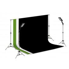 Sup Fundo Infinito + 2 Tripé Reclina + 2 Holofote + Preto/ Branco/ Verde 3x3