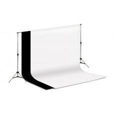 2 Tecidos 1,5 Preto / Branco + Suporte Fundo Infinito Foto