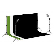 Suporte Fundo Infinito/ 02 Tripés Reclináveis com 02 Holofotes de 50w e Tecido Branco, Preto e Verde Chroma Key 2x3
