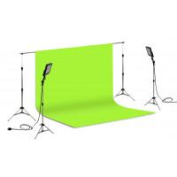 Suporte Fundo Infinito/ 02 Tripés Reclináveis com 02 Holofotes de 50w e Tecido Verde Chroma Key 3x5